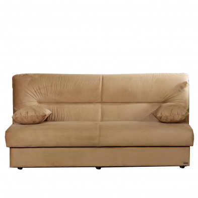 Canapé convertibles beige contemporain en bois massif 3 places  L. 195 x P. 96 x H. 94 cm collection Dominick