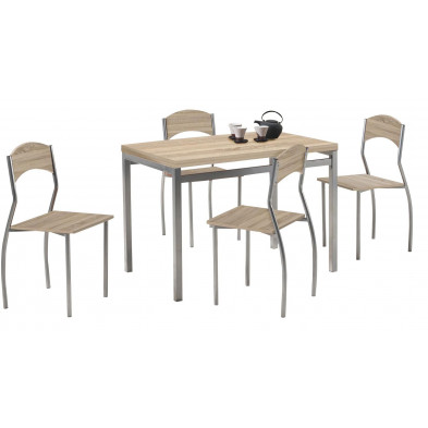 Ensemble tables et chaises marron design en panneaux de particules H.75 x L. 110 x P. 70 cm  collection  End