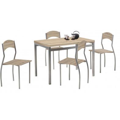 Ensemble tables et chaises marron design en panneaux de particules H.75 x L. 110 x P. 70 cm  collection  End