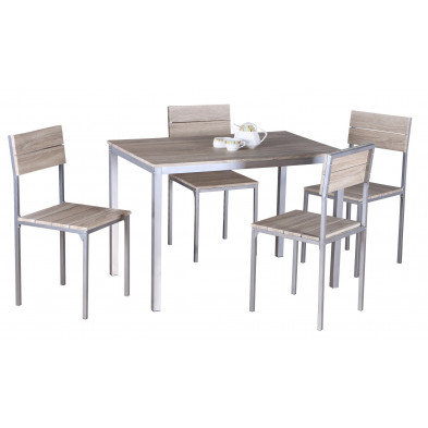 Ensembles tables & chaises marron design en panneaux de particules collection Lorrainville