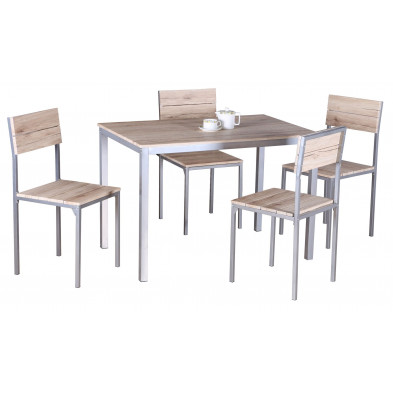 Ensembles tables & chaises marron design en panneaux de particules H.75 x L. 120 x P. 82 cm  collection Lorrainville