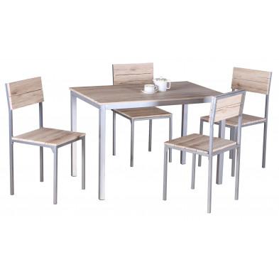 Ensembles tables & chaises marron design en panneaux de particules H.75 x L. 120 x P. 82 cm  collection Lorrainville