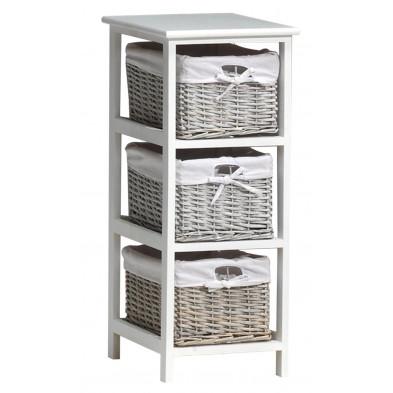 Meuble d'appoint avec 3 tiroirs en rotin blanc romantique en bois mdf collection Middelkamp