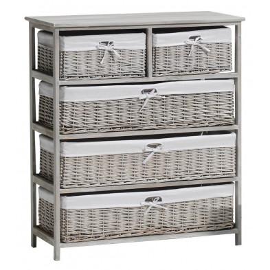 Rangement gris romantique en bois mdf  L.90 x P.35 x H.101 cm collection Middelkamp
