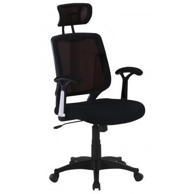 Chaise de bureau  noir design en polyester H.112(>121.5) x L.58 x P.55 cm  collection Duran