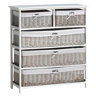 Meuble d'appoint avec 5 tiroirs en rotin blanc romantique en bois mdf collection Middelkamp