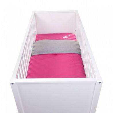 Housse de couette et drap d'oreiller design rose 100% coton L. 140 x P. 100 cm Collection Recogne