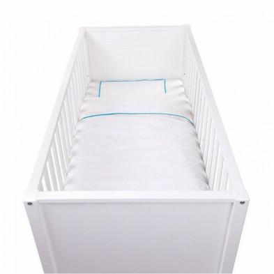 Housse de couette et drap d'oreiller design coloris blanc avec des broderies bleues sur les côtés 100% coton L. 140 x P. 100 cm Collection Cis