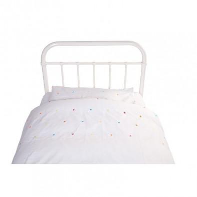 Housse de couette et drap d'oreiller design blanc 100% coton L. 200 x P. 90 cm Collection Keom