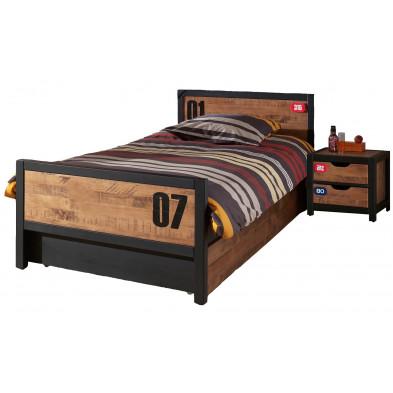 Ensemble lit 90x200cm avec chevet et tiroir-lit pour chambre à coucher moderne coloris brun et noir collection Scharnhorst