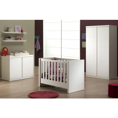 Packs chambre bébé blanc design en bois mdf collection Klasen