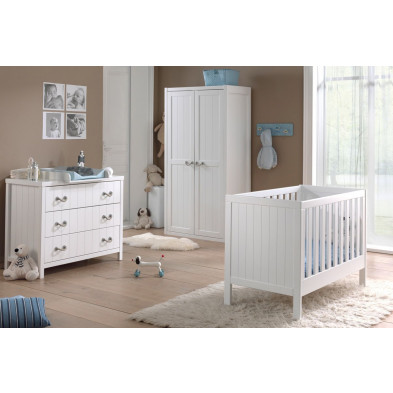 Packs chambre bébé blanc design en bois massif pin collection Boles