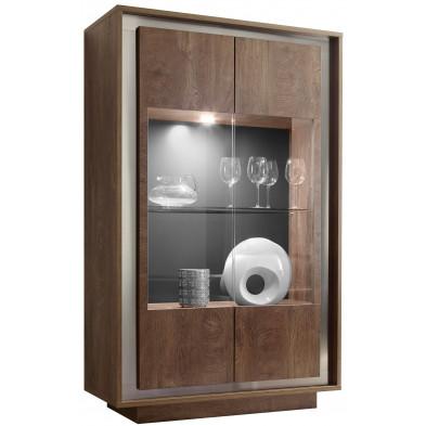 Vitrine marron design en panneaux de particules mélaminés de haute qualité L. 106 x P. 50 x H. 171 cm collection Rebordaos