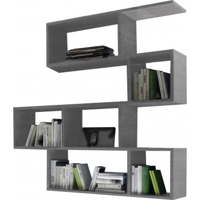 Bibliothèque design gris en panneaux de particules mélaminés L.140 x P.34 x H.145 cm  Collection Ceannabhaigh