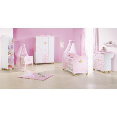 Lot de 3 Chambre bébé blanc et rose design en bois massif 70 x 140 cm Collection Mukaddes