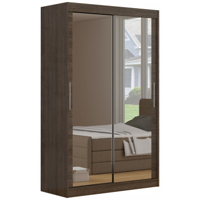 Armoire contemporaine  2 portes coulissantes en MDF  coloris marron L. 180 x P. 58 x H. 215 cm collection Vansonsbeek