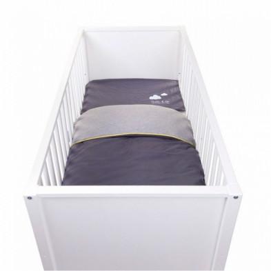 Housse de couette et drap d'oreiller design gris 100% coton L. 140 x P. 100 cm Collection Rik