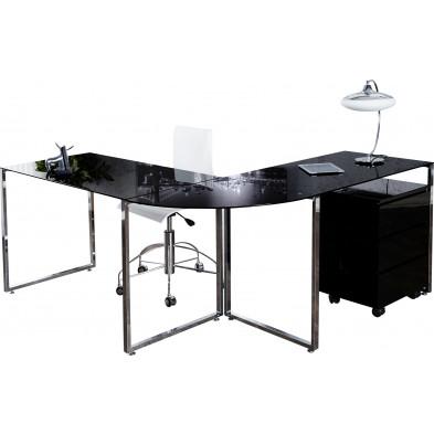 Bureau d'angle en verre et métal coloris noir et argenté L. 180-160 x P. 60 x H. 75 cm collection Nuray