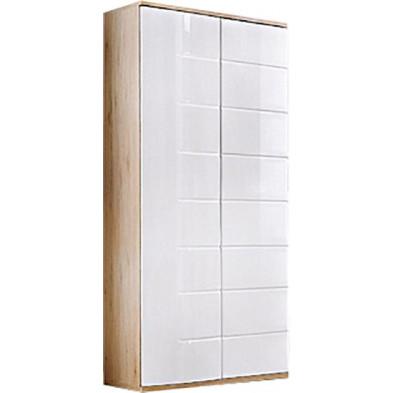 Armoire moderne 2 portes coloris blanc brillant et chêne L. 80 x P. 55 x H. 186 cm collection Marchje