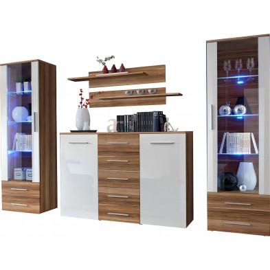 Ensemble séjour à poser avec 2 vitrines LED , 1 commode et 2 étagères coloris brun et blanc L. 290 x P. 45 x H. 190 cm collection Bongers