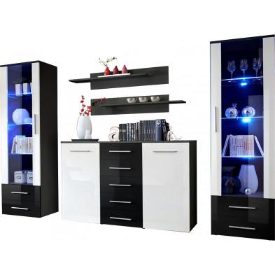 Ensemble séjour à poser avec 2 vitrines LED , 1 commode et 2 étagères coloris noir et blanc L. 290 x P. 45 x H. 190 cm collection Bongers