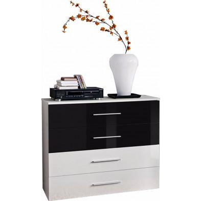 Commode  4 tiroirs en panneaux de particules coloris blanc et noir brillant L. 100 x P. 40 x H. 83 cm collection Derick