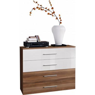 Commode 4 tiroirs en panneaux de particules coloris brun et blanc L. 100 x P. 40 x H. 83 cm collection Derick
