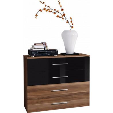 Commode 100 cm à 4 tiroirs en panneaux de particules coloris brun et noir collection Derick