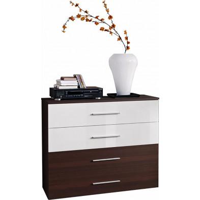 Commode 4 tiroirs en panneaux de particules coloris wengé et blanc brillant L. 100 x P. 40 x H. 83 cm collection Derick