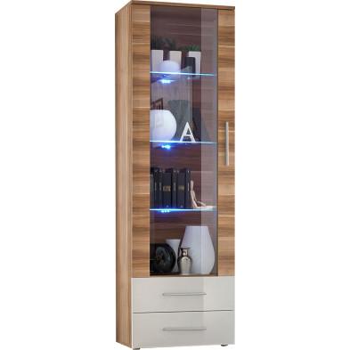 Vitrine à poser moderne 1 porte vitrée avec éclairage LED et 2 tiroirs en panneaux de particules coloris brun et blanc L. 60 x P. 40 x H. 190 cm collection Millie