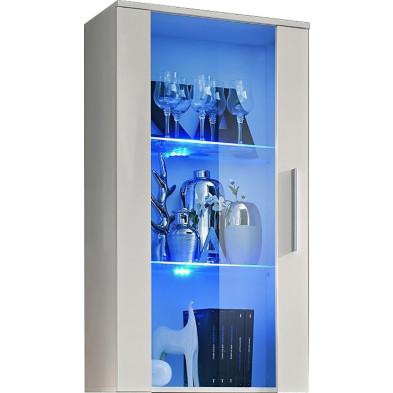 Vitrine murale moderne 1 porte vitrée avec éclairage LED en panneaux de particules coloris blanc L. 60 x P. 29 x H. 110 cm collection Tubney