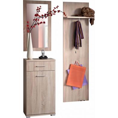 Ensemble vestiaire pour hall d'entrée avec banc , miroir et porte-manteau coloris frêne  L. 105 x P. 35 x H. 190 cm collection Celio