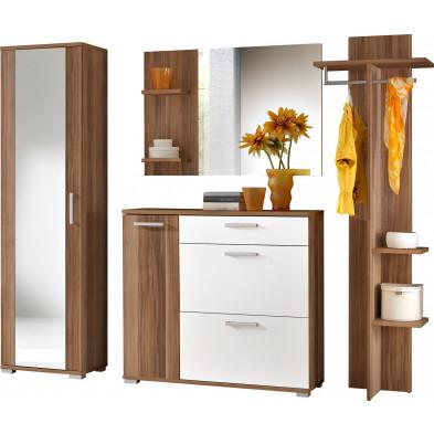 Ensemble vestiaire pour hall d'entrée avec armoire , meuble à chaussures , miroir et porte-manteau coloris brun et blanc L. 225 x P. 35 x H. 195 cm collection Son
