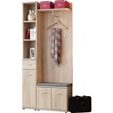 Ensemble vestiaire avec colonne de rangement, porte-manteau et 1 petite armoire coloris chêne sonoma L. 90 x P. 32 x H. 203 cm collection Wasagabeach