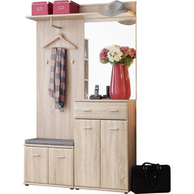 Vestiaire avec 1 petite armoire , range chaussures, porte-manteau , miroir et  panneau vestiaire coloris chêne sonoma  L. 120 x P. 32 x H. 203 cm collection Wasagabeach