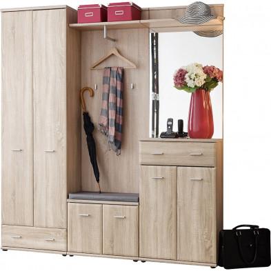 Vestiaire avec 1 armoire-penderie , 1 petite armoire, range chaussures, porte-manteau et miroir coloris chêne sonoma L. 180 x P. 32 x H. 203 cm collection Wasagabeach