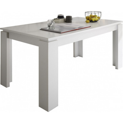 Table à manger extensible coloris blanc L. 160/200 x P. 90 x H. 77 cm collection Douai