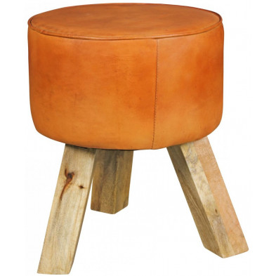 Pouf et tabouret marron vintage en cuir véritable 1 place L. 37 x P. 37 x H. 45 cm collection Oombergen