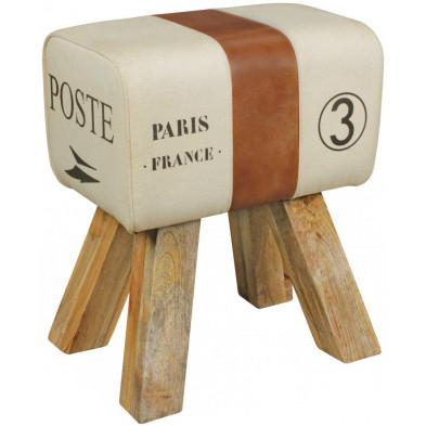 Pouf et tabouret beige vintage en cuir véritable 1 place  L. 30 x P. 40 x H. 47 cm collection Oombergen