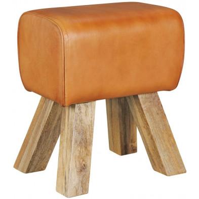 Pouf et tabouret marron vintage en cuir véritable 1 place L. 30 x P. 40 x H. 47 cm collection Oombergen