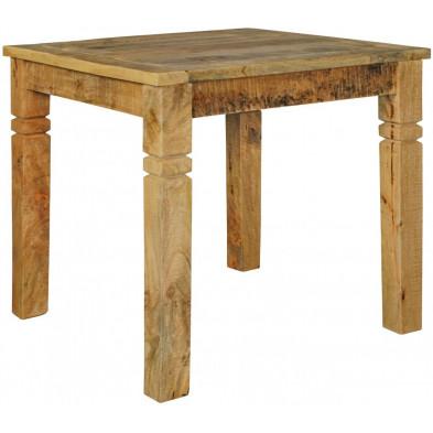 Table de salle à manger en bois massif marron rustique en bois massif L. 80 x P. 80 x H. 76 cm collection Hesitant
