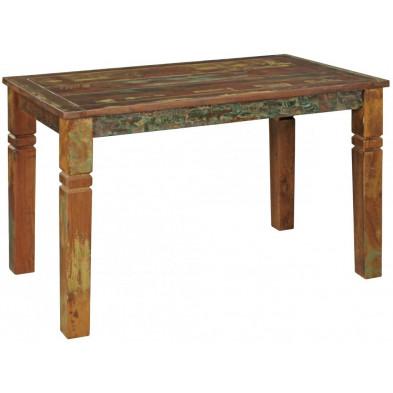 Table de salle à manger en bois massif marron rustique en bois massif L. 120 x P. 70 x H. 76 cm collection Fobe