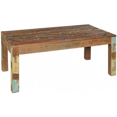 Table basse en bois marron contemporain en bois massif manguier L. 110 x P. 60 x H. 47 cm collection Tindra