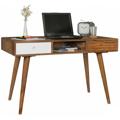 Bureau scandinave en bois massif blanc  L. 120 x P. 60 x H. 75 cm collection Finn