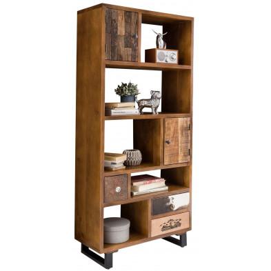 Bibliothèque vintage en bois massif marron avec piètement en acier  L. 80 x P. 35 x H. 180 cm collection Baelen