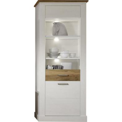 Vitrine 2 portes (1 vitrée avec éclairage LED) coloris blanc et noyer satiné L. 80 x P. 43 x H. 210 cm collection Coulthard