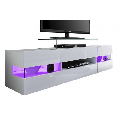Meuble TV design 2 portes et 1 niche ouverte coloris blanc  brillant L. 169 x P. 43,5 x H. 43 cm collection Jennette