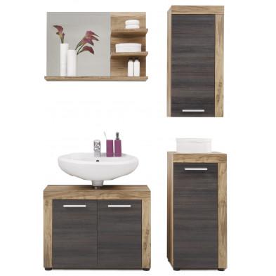 Meubles de salle de bain 4 pièces coloris chêne et gris foncé L. 123 x P. 34 x H. 184 cm collection Rohrdorf