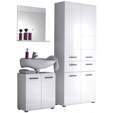 Meubles de salle de bain 3 pièces coloris blanc L. 145 x P. 31 x H. 182 cm collection Zwalm