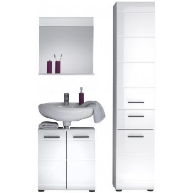 Meubles de salle de bain 3 pièces coloris blanc  L. 115 x P. 31 x H. 182 cm collection Zwalm